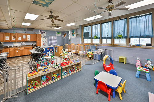 day care center room with toys